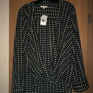 Pleione Black and White Printed Blouse-Size LG